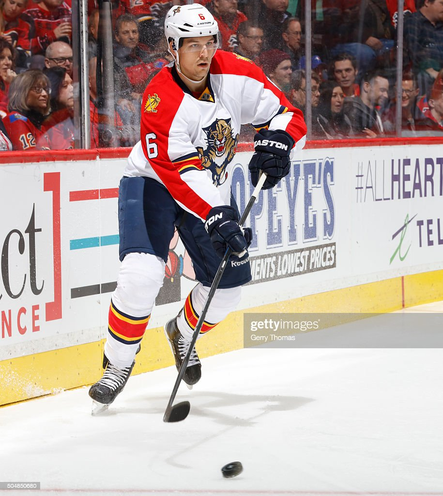 <a gi-track='captionPersonalityLinkClicked' href=/galleries/search?phrase=Alex+Petrovic&family=editorial&specificpeople=8639704 ng-click='$event.stopPropagation()'>Alex Petrovic</a> #6 of the Florida Panthers skates against the Calgary Flames at Scotiabank Saddledome on January 13, 2016 in Calgary, Alberta, Canada.