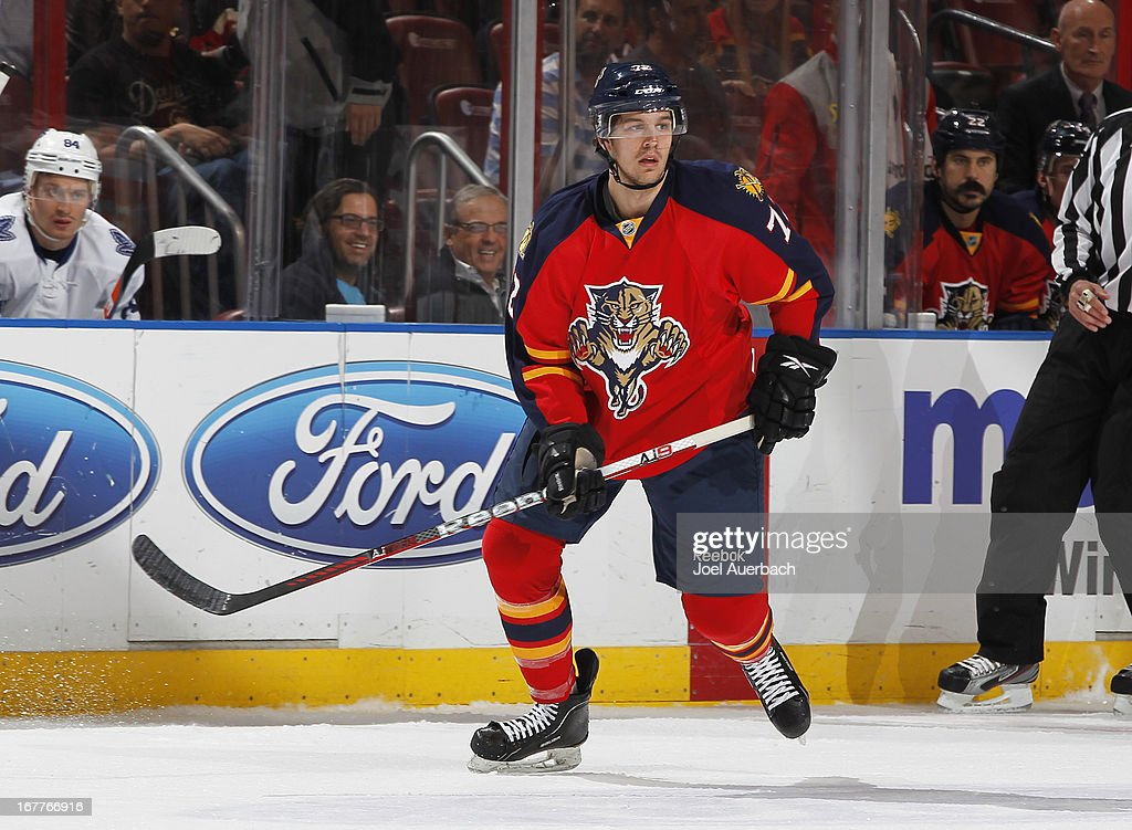 <a gi-track='captionPersonalityLinkClicked' href=/galleries/search?phrase=Alex+Petrovic&family=editorial&specificpeople=8639704 ng-click='$event.stopPropagation()'>Alex Petrovic</a> #72 of the Florida Panthers skates through center ice against the Toronto Maple Leafs at the BB&T Center on April 25, 2013 in Sunrise, Florida. The Maple Leafs defeated the Panthers 4-0.