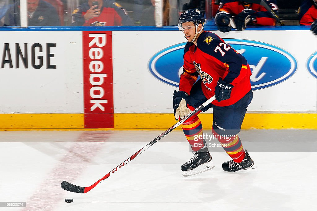 <a gi-track='captionPersonalityLinkClicked' href=/galleries/search?phrase=Alex+Petrovic&family=editorial&specificpeople=8639704 ng-click='$event.stopPropagation()'>Alex Petrovic</a> #72 of the Florida Panthers skates with the puck against the Montreal Canadiens at the BB&T Center on April 5, 2015 in Sunrise, Florida.