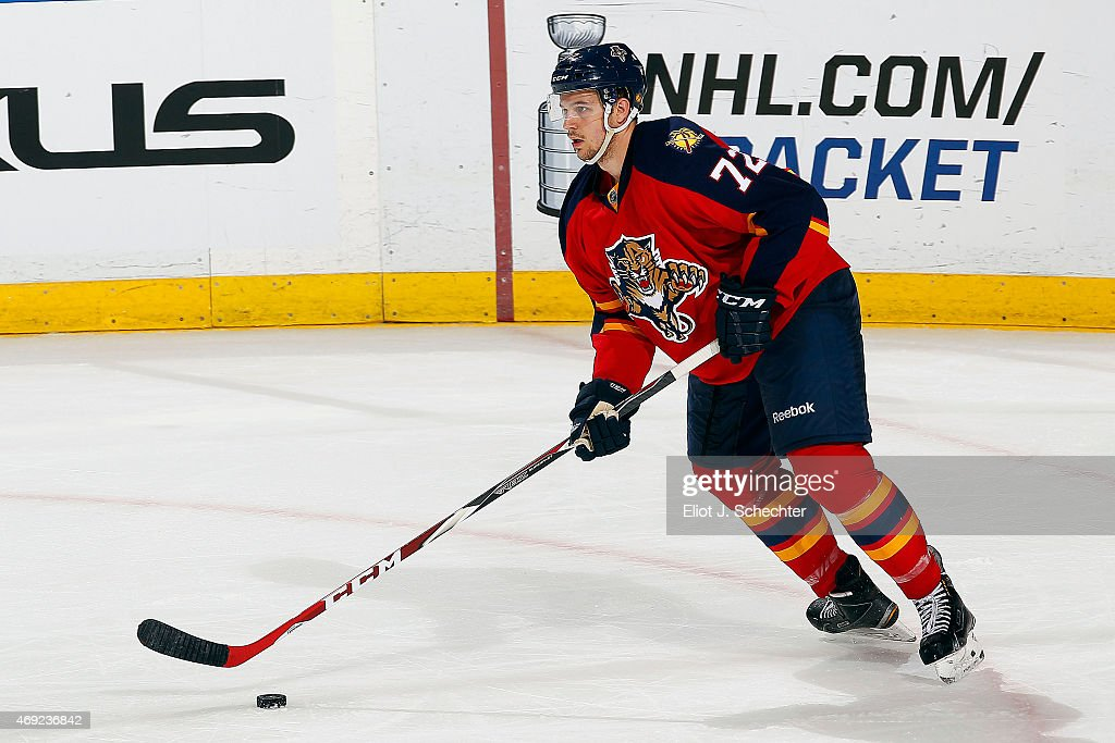<a gi-track='captionPersonalityLinkClicked' href=/galleries/search?phrase=Alex+Petrovic&family=editorial&specificpeople=8639704 ng-click='$event.stopPropagation()'>Alex Petrovic</a> #72 of the Florida Panthers skates with the puck against the Boston Bruins at the BB&T Center on April 9, 2015 in Sunrise, Florida.
