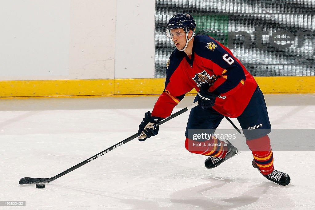 <a gi-track='captionPersonalityLinkClicked' href=/galleries/search?phrase=Alex+Petrovic&family=editorial&specificpeople=8639704 ng-click='$event.stopPropagation()'>Alex Petrovic</a> #6 of the Florida Panthers skates with the puck against the Dallas Stars at the BB&T Center on October 17, 2015 in Sunrise, Florida.