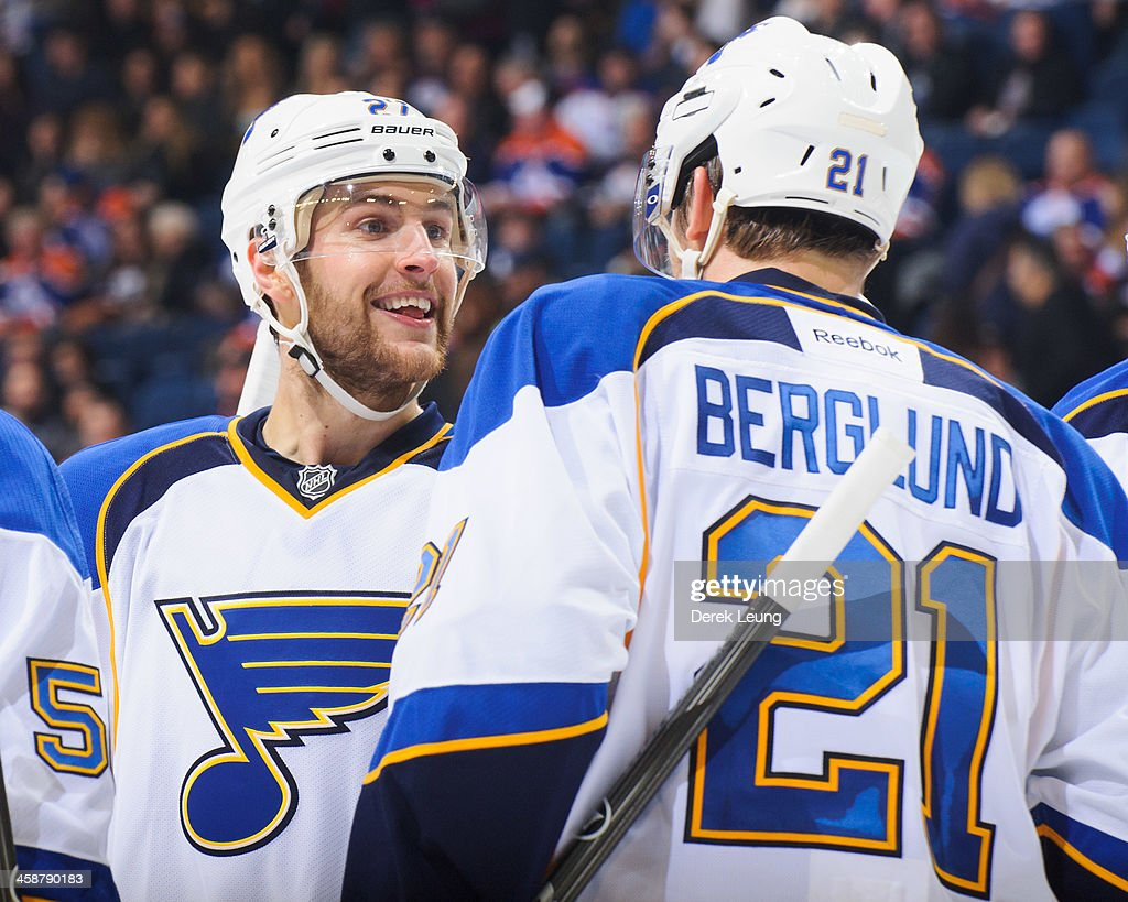 <a gi-track='captionPersonalityLinkClicked' href=/galleries/search?phrase=Alex+Pietrangelo&family=editorial&specificpeople=4072229 ng-click='$event.stopPropagation()'>Alex Pietrangelo</a> #27 and <a gi-track='captionPersonalityLinkClicked' href=/galleries/search?phrase=Patrik+Berglund&family=editorial&specificpeople=540481 ng-click='$event.stopPropagation()'>Patrik Berglund</a> #21 of the St Louis Blues celebrate after a goal against the Edmonton Oilers during an NHL game at Rexall Place on December 21, 2013 in Edmonton, Alberta, Canada. The Blues defeated the Oilers 6-0.