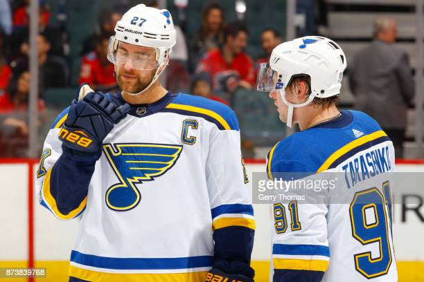 Alex Pietrangelo and Vladimir Tarasenko of the St Luis Blues chat during a break in an NHL game against the St Louis Blues at the Scotiabank...