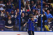 Alex Pietrangelo of the St Louis Blues celebrates after scoring the gametying goal against the Chicago Blackhawks in Game Five of the First Round of...