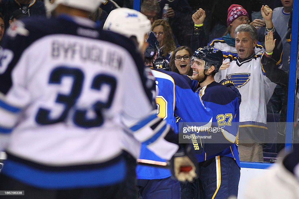 <a gi-track='captionPersonalityLinkClicked' href=/galleries/search?phrase=Alex+Pietrangelo&family=editorial&specificpeople=4072229 ng-click='$event.stopPropagation()'>Alex Pietrangelo</a> #27 of the St. Louis Blues celebrates his goal against the Winnipeg Jets at the Scottrade Center on October 29, 2013 in St. Louis, Missouri. The Blues beat the Jets 3-2.