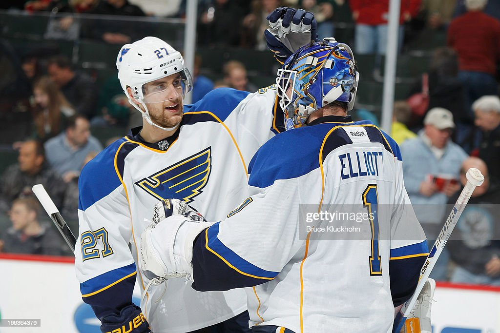 <a gi-track='captionPersonalityLinkClicked' href=/galleries/search?phrase=Alex+Pietrangelo&family=editorial&specificpeople=4072229 ng-click='$event.stopPropagation()'>Alex Pietrangelo</a> #27 of the St. Louis Blues celebrates with goalie <a gi-track='captionPersonalityLinkClicked' href=/galleries/search?phrase=Brian+Elliott&family=editorial&specificpeople=687032 ng-click='$event.stopPropagation()'>Brian Elliott</a> #1 after defeating the Minnesota Wild on April 11, 2013 at the Xcel Energy Center in Saint Paul, Minnesota.