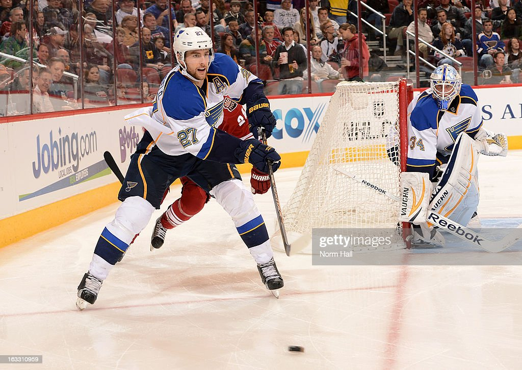 <a gi-track='captionPersonalityLinkClicked' href=/galleries/search?phrase=Alex+Pietrangelo&family=editorial&specificpeople=4072229 ng-click='$event.stopPropagation()'>Alex Pietrangelo</a> #27 of the St Louis Blues clears the puck from behind the goal against the Phoenix Coyotes during the second period at Jobing.com Arena on March 7, 2013 in Glendale, Arizona.