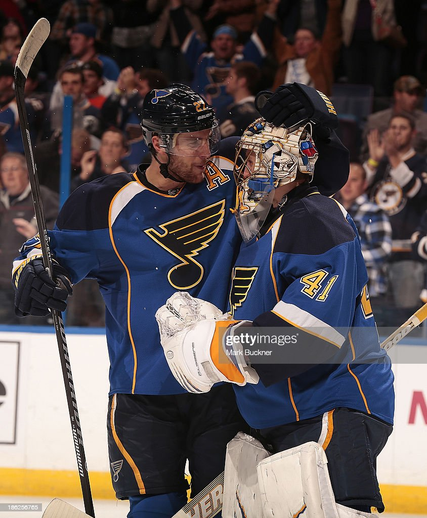 <a gi-track='captionPersonalityLinkClicked' href=/galleries/search?phrase=Alex+Pietrangelo&family=editorial&specificpeople=4072229 ng-click='$event.stopPropagation()'>Alex Pietrangelo</a> #27 of the St. Louis Blues congratulates goalie <a gi-track='captionPersonalityLinkClicked' href=/galleries/search?phrase=Jaroslav+Halak&family=editorial&specificpeople=2285591 ng-click='$event.stopPropagation()'>Jaroslav Halak</a> #41after beating the Winnipeg Jets on October 29, 2013 at Scottrade Center in St. Louis, Missouri.