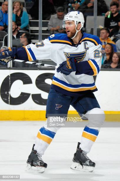 Alex Pietrangelo of the St Louis Blues during a NHL game against the San Jose Sharks at SAP Center at San Jose on March 16 2017 in San Jose California