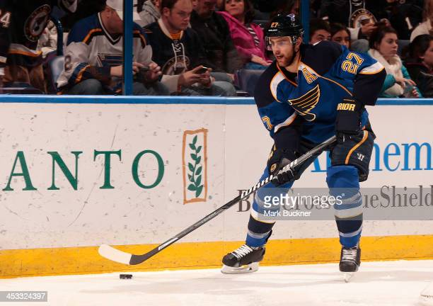 Alex Pietrangelo of the St Louis Blues handles the puck against the Minnesota Wild on November 25 2013 at Scottrade Center in St Louis Missouri