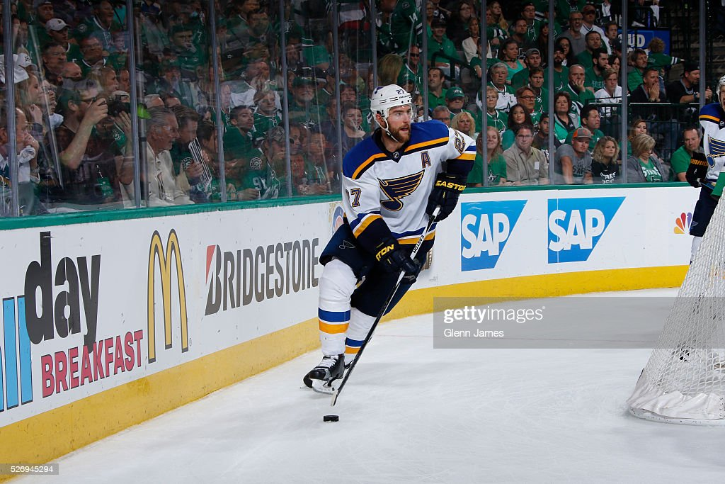 Alex Pietrangelo #27 of the St. Louis Blues handles the puck against the Dallas Stars in Game Two of the Western Conference Second Round during the 2016 NHL Stanley Cup Playoffs at the American Airlines Center on May 1, 2016 in Dallas, Texas.