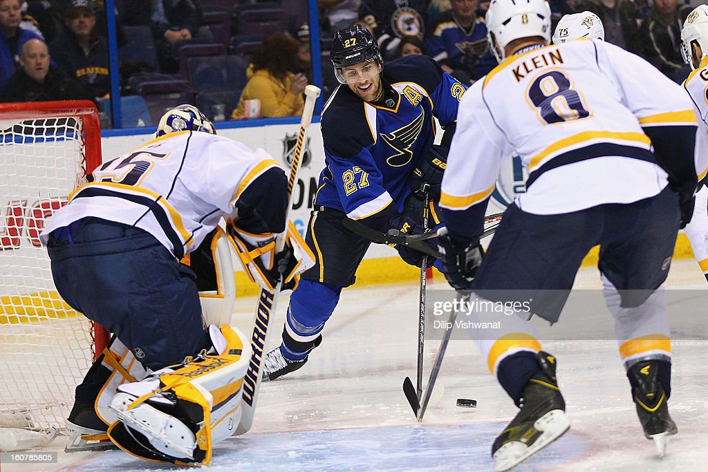 <a gi-track='captionPersonalityLinkClicked' href=/galleries/search?phrase=Alex+Pietrangelo&family=editorial&specificpeople=4072229 ng-click='$event.stopPropagation()'>Alex Pietrangelo</a> #27 of the St. Louis Blues looks to take a shot on goal against the Nashville Predators at the Scottrade Center on February 5, 2013 in St. Louis, Missouri.