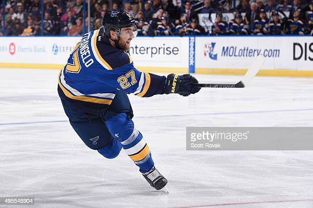 Alex Pietrangelo of the St Louis Blues shoots the puck against the Los Angeles Kings on November 3 2015 at Scottrade Center in St Louis Missouri
