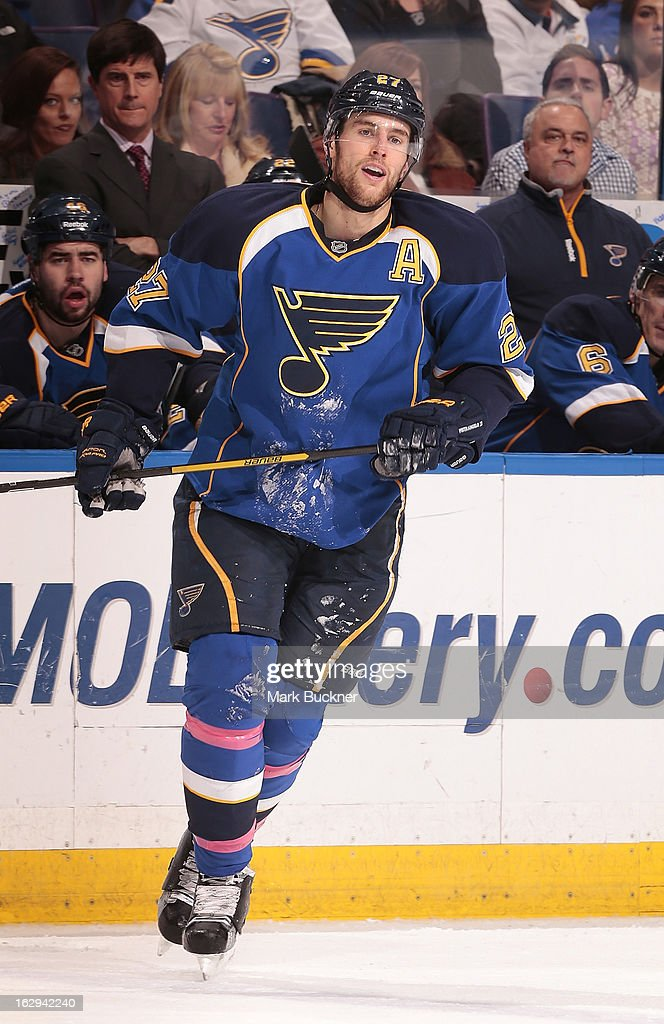 <a gi-track='captionPersonalityLinkClicked' href=/galleries/search?phrase=Alex+Pietrangelo&family=editorial&specificpeople=4072229 ng-click='$event.stopPropagation()'>Alex Pietrangelo</a> #27 of the St. Louis Blues skates against the Edmonton Oilers in an NHL game on March 1, 2013 at Scottrade Center in St. Louis, Missouri.