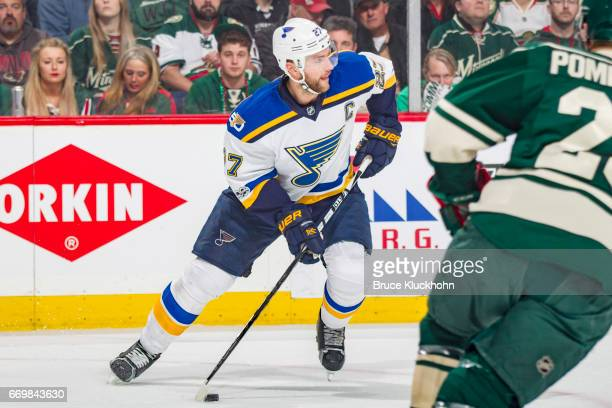 Alex Pietrangelo of the St Louis Blues skates with the puck against the Minnesota Wild in Game One of the Western Conference First Round during the...