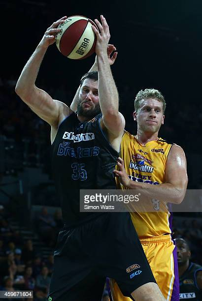 Alex Pledger of the Breakers grabs a rebound over Josh Duinker of the Kings during the round eight NBL match between New Zealand Breakers and Sydney...