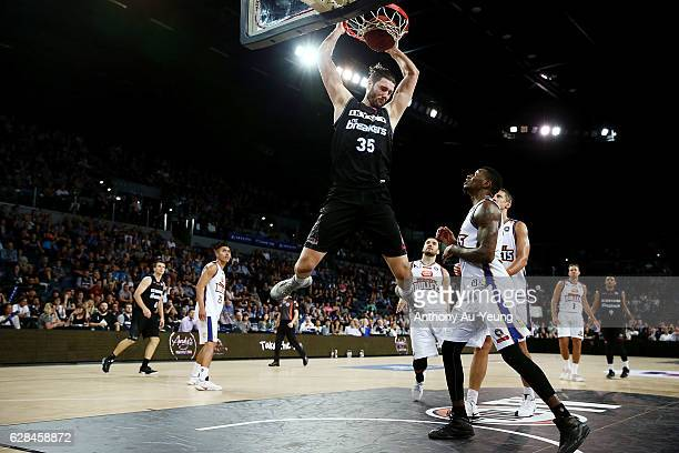 Alex Pledger of the Breakers with a dunk during the round 10 NBL match between the New Zealand Breakers and the Brisbane Bullets at Vector Arena on...