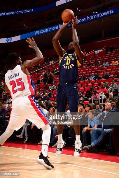 Alex Poythress of the Indiana Pacers handles the ball against the Detroit Pistons on October 9 2017 at Little Caesars Arena in Detroit Michigan NOTE...