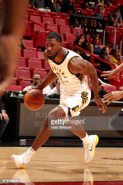 Alex Poythress of the Indiana Pacers handles the ball during the game against the Miami Heat on November 19 2017 at American Airlines Arena in Miami...