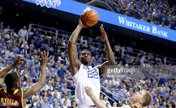 Alex Poythress of the Kentucky Widcats shoots the ball during the game against the Arizona State Sun Devils at Rupp Arena on December 12 2015 in...