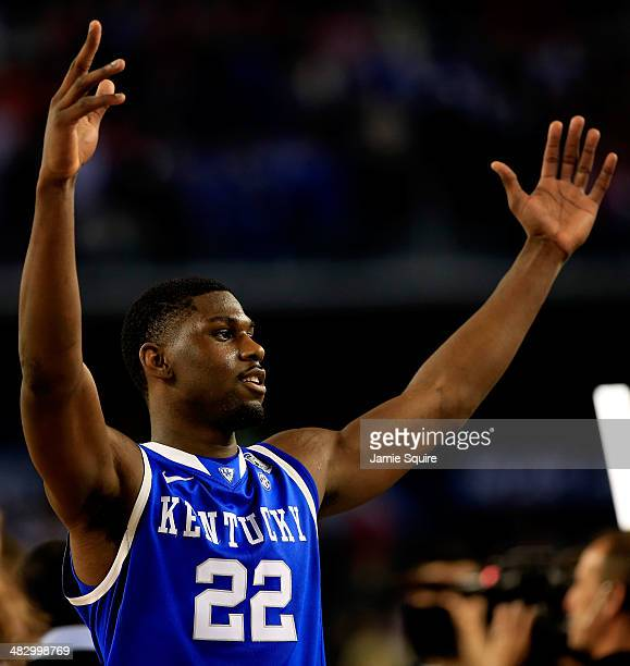 Alex Poythress of the Kentucky Wildcats celebrates after defeating the Wisconsin Badgers 7473 in the NCAA Men's Final Four Semifinal at ATT Stadium...