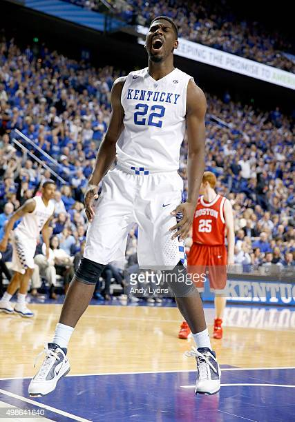 Alex Poythress of the Kentucky Wildcats celebrates after dunking the ball during the game against the Boston Terriers at Rupp Arena on November 24...