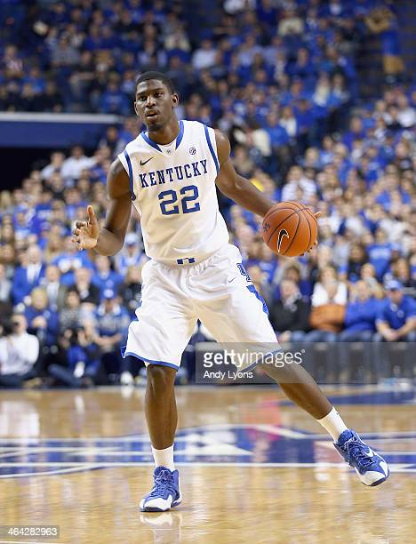Alex Poythress of the Kentucky Wildcats dribbles the ball during the game against the Texas AM Aggies at Rupp Arena on January 21 2014 in Lexington...
