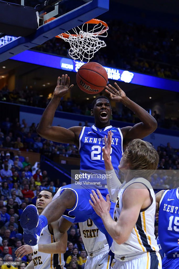 <a gi-track='captionPersonalityLinkClicked' href=/galleries/search?phrase=Alex+Poythress&family=editorial&specificpeople=7880790 ng-click='$event.stopPropagation()'>Alex Poythress</a> #22 of the Kentucky Wildcats dunks the ball against Wichita State Shockers during the third round of the 2014 NCAA Men's Basketball Tournament at Scottrade Center on March 23, 2014 in St Louis, Missouri.