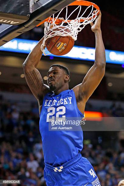 Alex Poythress of the Kentucky Wildcats dunks the ball against the South Florida Bulls during first half action on November 27 2015 at the American...