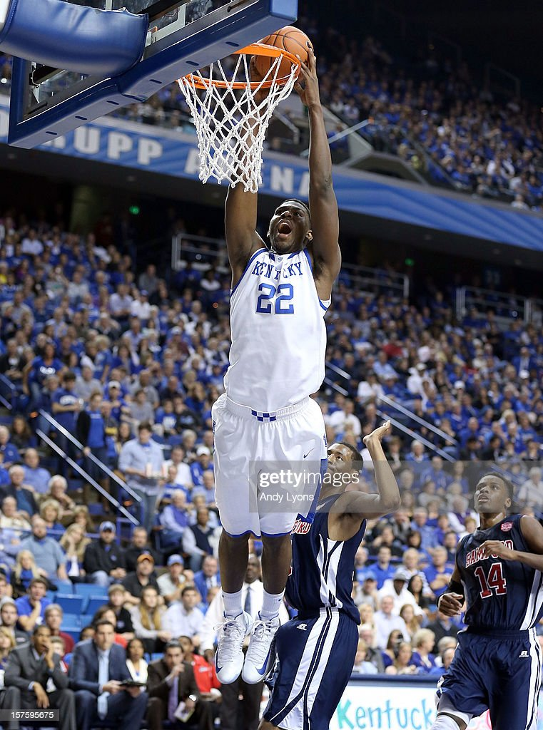 Alex Poythress #22 of the Kentucky Wildcats dunks the ball during the game against the Samford Bulldogs at Rupp Arena on December 4, 2012 in Lexington, Kentucky. Kentucky won 88-56.