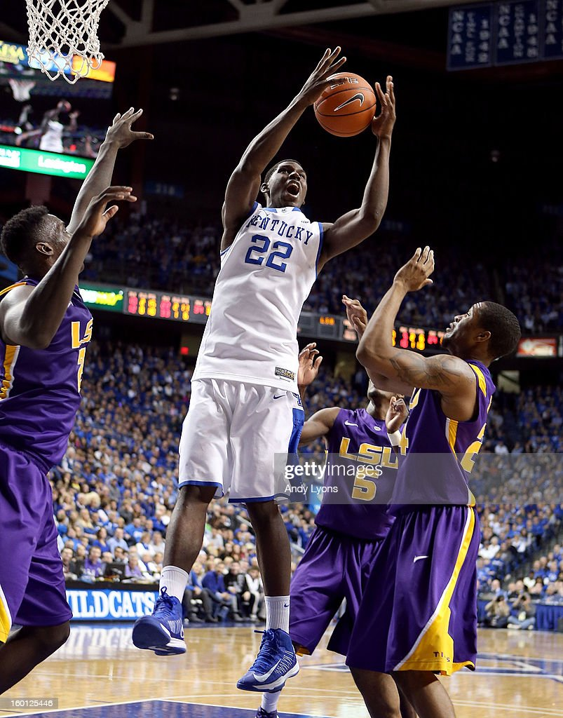 <a gi-track='captionPersonalityLinkClicked' href=/galleries/search?phrase=Alex+Poythress&family=editorial&specificpeople=7880790 ng-click='$event.stopPropagation()'>Alex Poythress</a> #22 of the Kentucky Wildcats grabs a rebound during the game against the LSU Tigers at Rupp Arena on January 26, 2013 in Lexington, Kentucky.