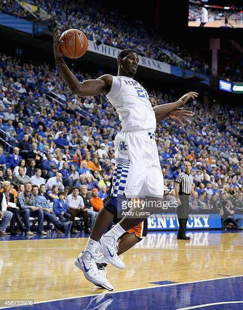 Alex Poythress of the Kentucky Wildcats grabs a rebound during the game against the Georgetown College Tigers at Rupp Arena on November 9 2014 in...