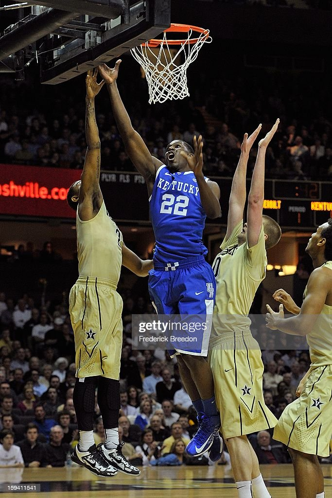 <a gi-track='captionPersonalityLinkClicked' href=/galleries/search?phrase=Alex+Poythress&family=editorial&specificpeople=7880790 ng-click='$event.stopPropagation()'>Alex Poythress</a> #22 of the Kentucky Wildcats plays against the Vanderbilt Commodores at Memorial Gym on January 10, 2013 in Nashville, Tennessee.