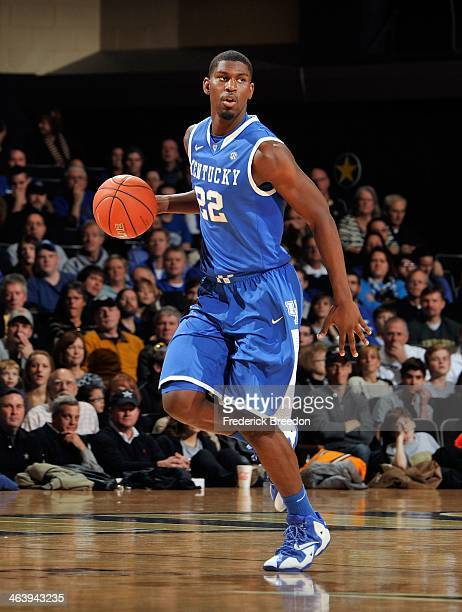 Alex Poythress of the Kentucky Wildcats plays against the Vanderbilt Commodores at Memorial Gym on January 11 2014 in Nashville Tennessee