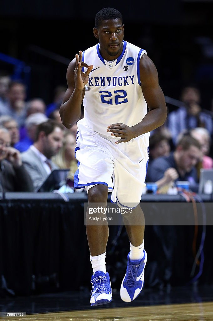 Alex Poythress #22 of the Kentucky Wildcats reacts after hitting a three point shot against the Kansas State Wildcats during the second round of the 2014 NCAA Men's Basketball Tournament at the Scottrade Center on March 21, 2014 in St Louis, Missouri.