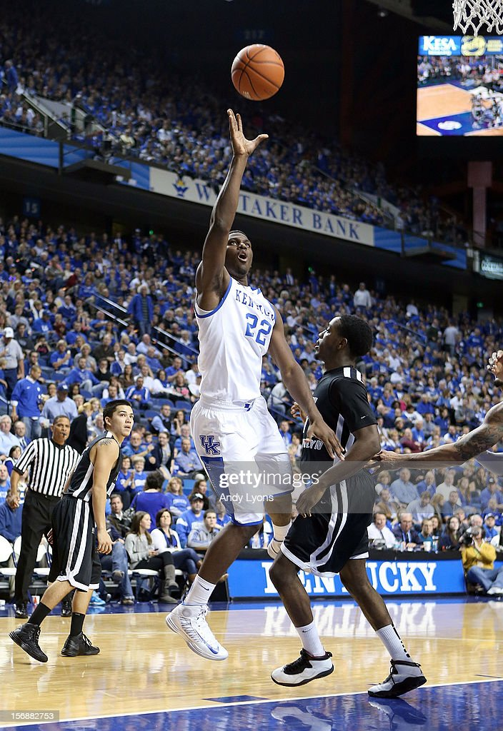 Alex Poythress #22 of the Kentucky Wildcats shoots the ball during the game against the Long Island Blackbirds at Rupp Arena on November 23, 2012 in Lexington, Kentucky.
