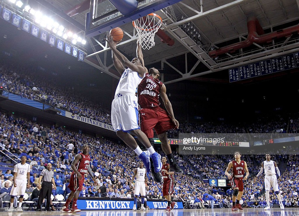 Alex Poythress #22 of the Kentucky Wildcats shoots the ball during the game against the South Carolina Gamecocks at Rupp Arena on February 5, 2013 in Lexington, Kentucky.