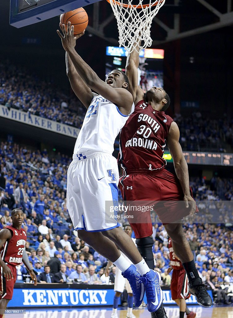 <a gi-track='captionPersonalityLinkClicked' href=/galleries/search?phrase=Alex+Poythress&family=editorial&specificpeople=7880790 ng-click='$event.stopPropagation()'>Alex Poythress</a> #22 of the Kentucky Wildcats shoots the ball during the game against the South Carolina Gamecocks at Rupp Arena on February 5, 2013 in Lexington, Kentucky.