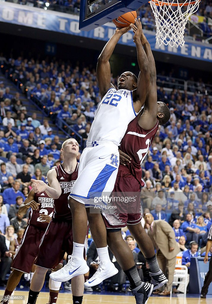 Alex Poythress #22 of the Kentucky Wildcats shoots the ball during the game against the Mississippi State Bulldogs at Rupp Arena on February 27, 2013 in Lexington, Kentucky.