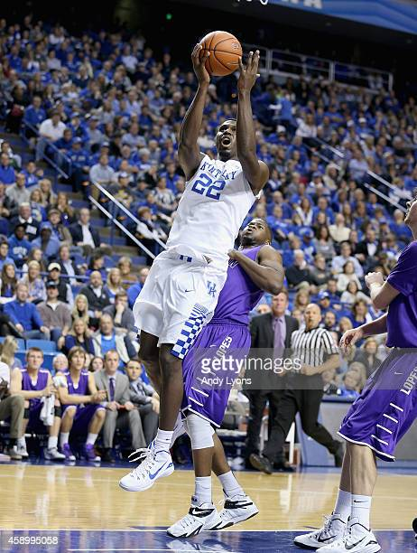 Alex Poythress of the Kentucky Wildcats shoots the ball during the game against the Grand Canyon Antelopes at Rupp Arena on November 14 2014 in...