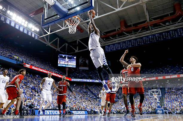 Alex Poythress of the Kentucky Wildcats shoots the ball in the 7573 win over the Louisville Cardinals at Rupp Arena on December 26 2015 in Lexington...