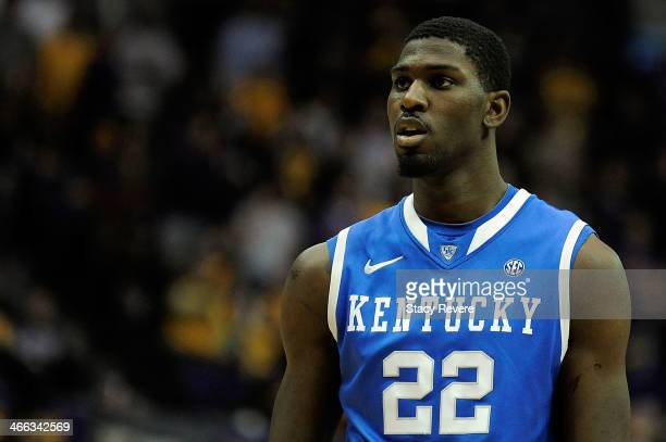 Alex Poythress of the Kentucky Wildcats waits for a play against the LSU Tigers during a game at the Pete Maravich Assembly Center on January 28 2014...