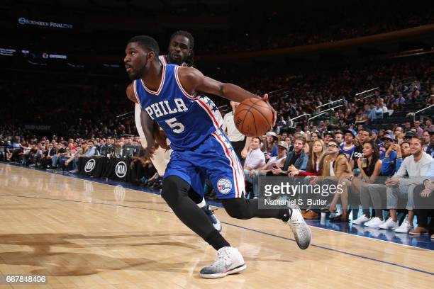 Alex Poythress of the Philadelphia 76ers handles the ball against the New York Knicks on April 12 2017 at Madison Square Garden in New York City New...