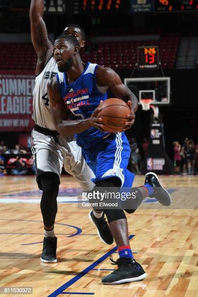 Alex Poythress of the Philadelphia 76ers handles the ball against the San Antonio Spurs during the 2017 Las Vegas Summer League on July 9 2017 at the...