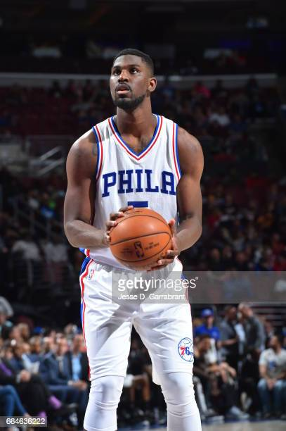 Alex Poythress of the Philadelphia 76ers shoots a foul shot against the Brooklyn Nets at Wells Fargo Center on April 4 2017 in Philadelphia...