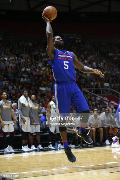 Alex Poythress of the Philadelphia 76ers shoots the ball against the Utah Jazz on July 5 2017 during the 2017 NBA Utah Summer League game at the Jon...
