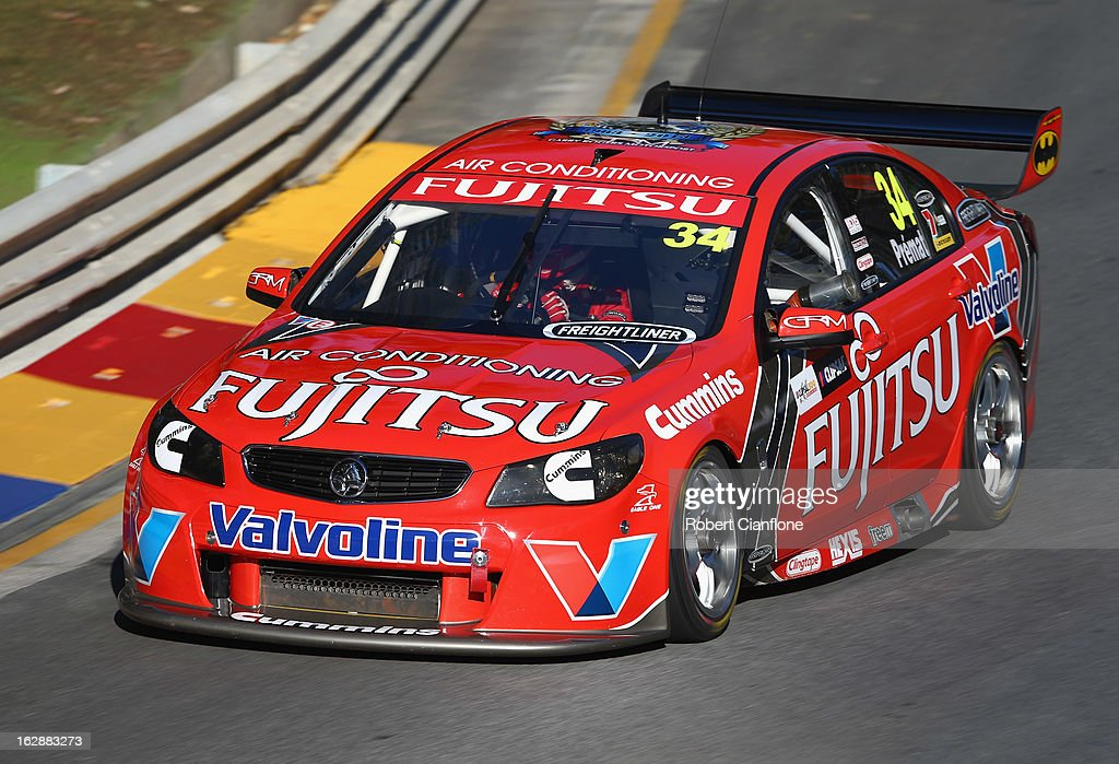 Alex Premat drives the #34 Fujitsu Racing GRM Holden during practice for the Clipsal 500, which is round one of the V8 Supercar Championship Series, at the Adelaide Street Circuit on March 1, 2013 in Adelaide, Australia.