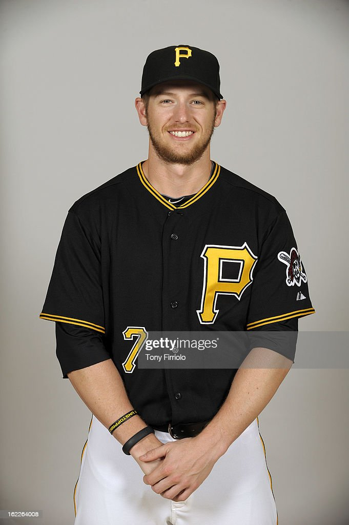 Alex Presley #7 of the Pittsburgh Pirates poses during Photo Day on February 17, 2013 at McKechnie Field in Bradenton, Florida.