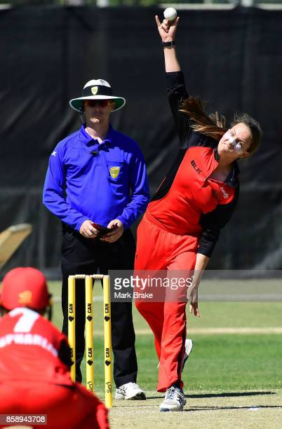 Alex Price bowls during the WNCL match between South Australia and Tasmania at Adelaide Oval No2 on October 8 2017 in Adelaide Australia