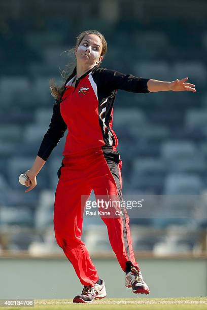 Alex Price of South Australia bowls during the round one WNCL match between New South Wales and South Australia at WACA on October 10 2015 in Perth...